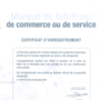 Certificat d'enregistrement.